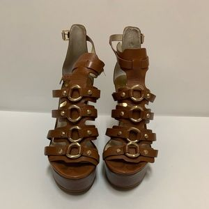 Michael Kors Wedge Brown Leather Women Size 9 M